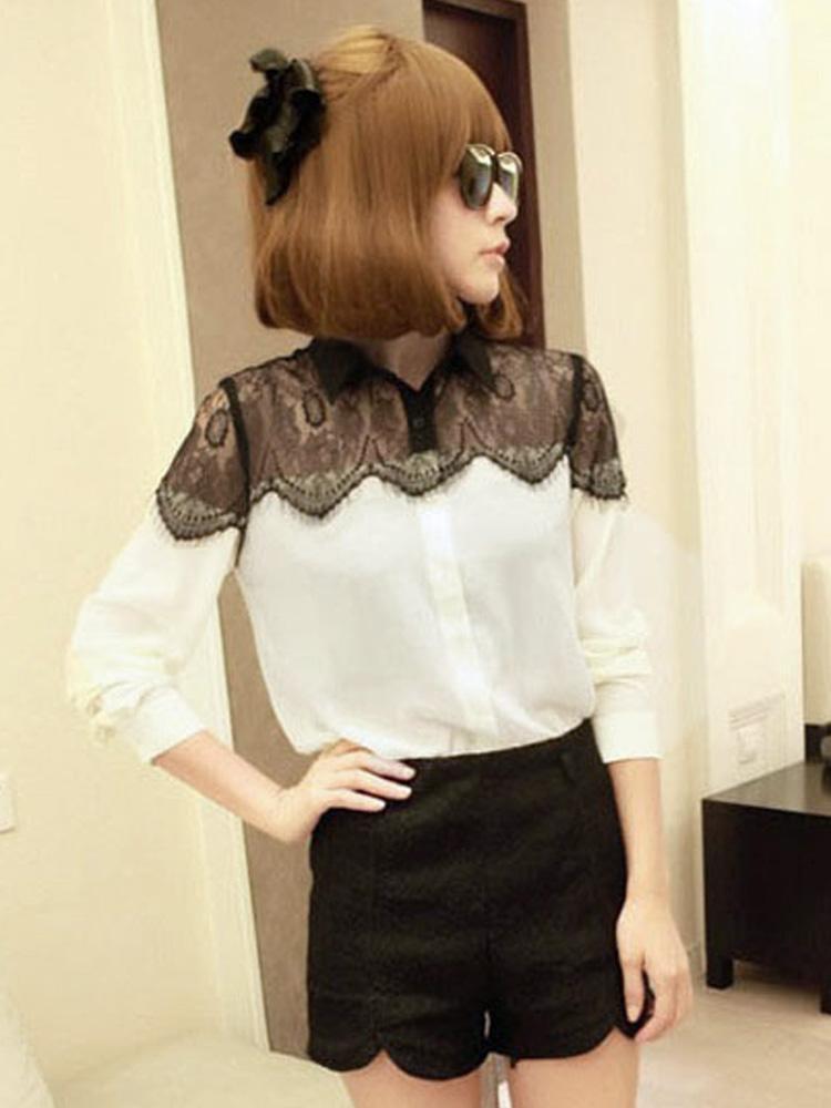 Women Casual Lace Chiffon Splicing Long Sleeve Elegant Blouse - CA$8.12