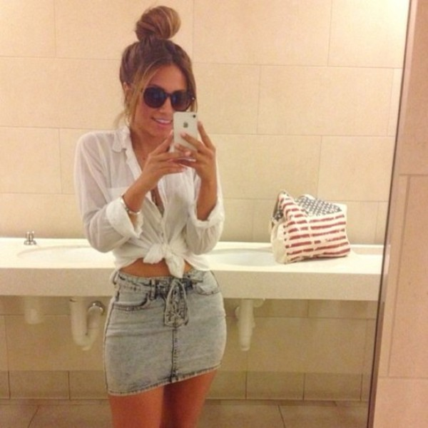 skirt denim fashion jeans high waisted skirt blouse edgy