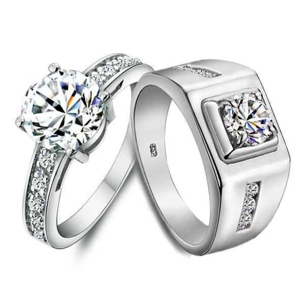 name engraved 2 carat diamond gold enement rings for two his hers matching - Wedding Rings For Her And Him