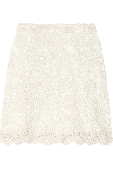 Alice   Olivia | Lucia cotton-blend lace mini skirt | NET-A-PORTER.COM