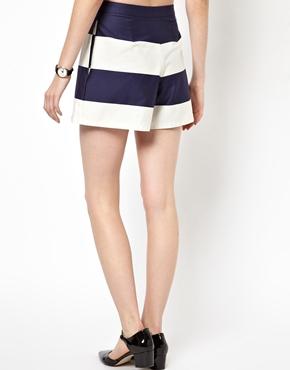 ASOS | ASOS High Waisted Shorts in Wide Stripe at ASOS