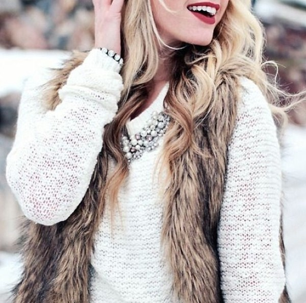 sweater faux fur vest vest top oversized sweater oversized white sweater