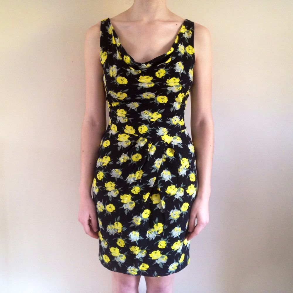 Topshop Tall black yellow rose floral shift wiggle dress sz 10 excellent cond | eBay