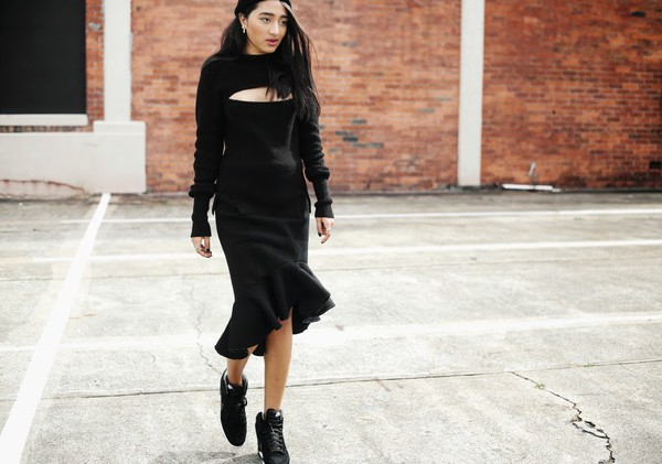 inside in inside out sweater skirt shoes jewels