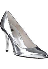 Stuart Weitzman Evening Power Pump Silver Leather - Jildor Shoes, Since 1949
