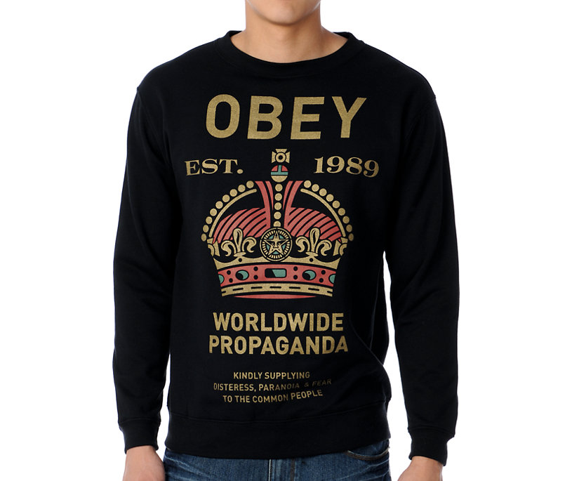 Obey Royal Mandate Black Crewneck - Gift Ideas