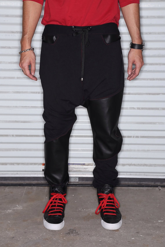 Black Faux Leather with Black Stretch Cotton  Mens by C4DApparel