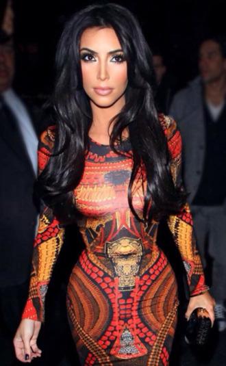 dress kim kardashian kim kardashian dress red dress yellow orange dress bodycon dress hollywood