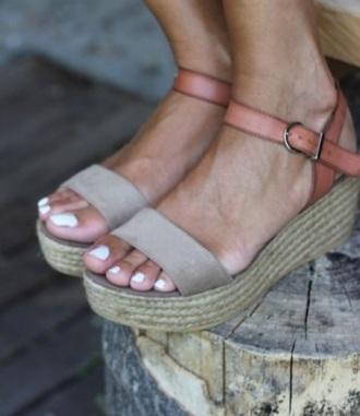 shoes platcorms peach sandals sandal heels platform shoes platform sandals wicker strappy heels strappy sandals strappy shoes summer shoes boho boho chic indie boho hippie hippie chic
