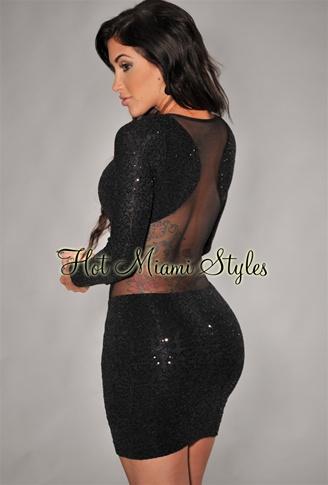 Black Allover Mini Sequins Mesh Back Dress