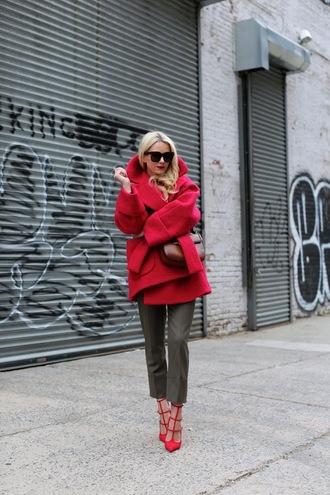 atlantic pacific blogger winter coat wool coat cropped pants red heels red coat streetstyle streetwear red