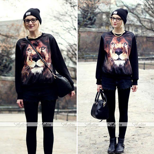 Women Lion Print 3D Jumper Coat Jacket Pullover Sweatshirt Tops Long Sleeve Cool | eBay