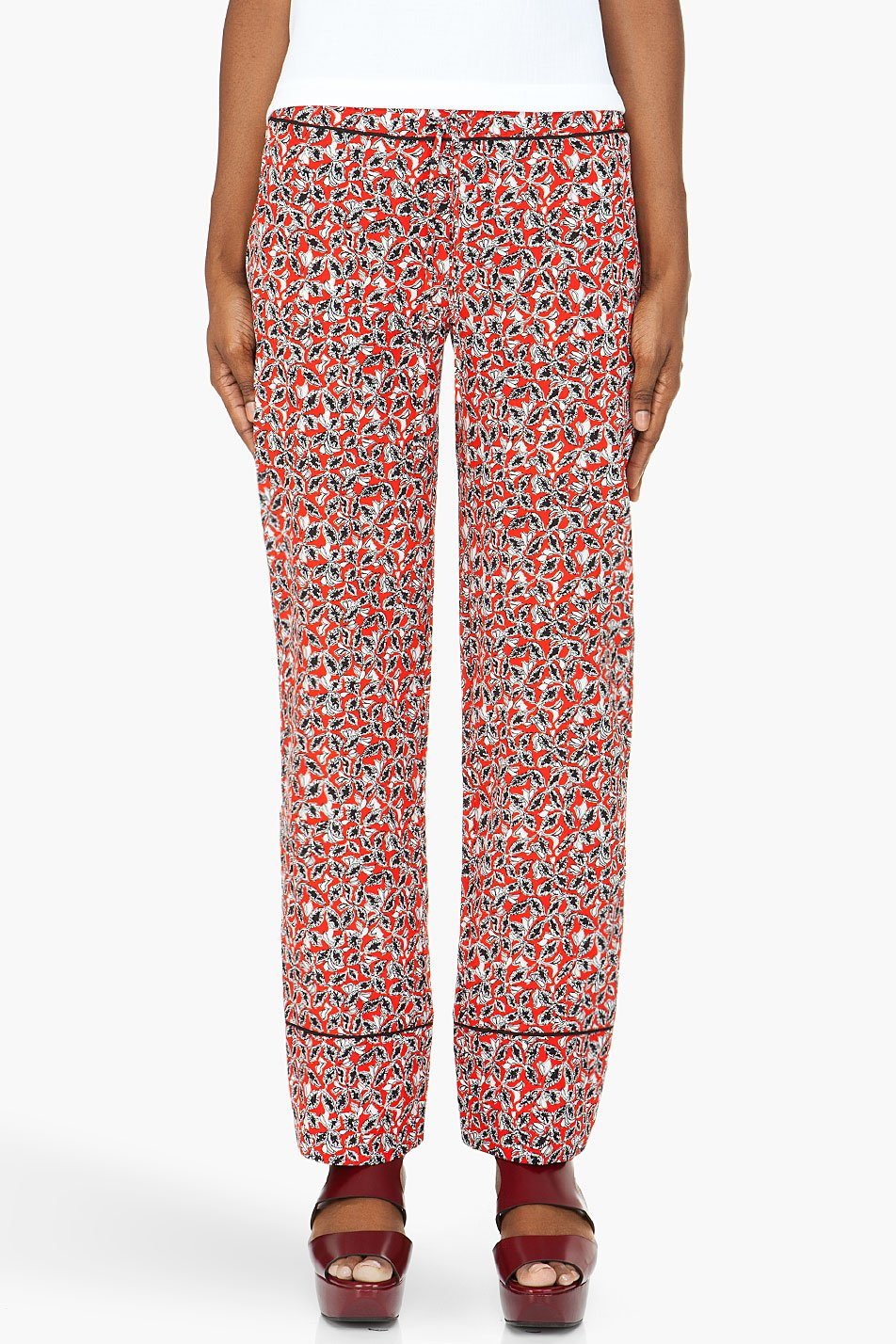 marni edition red printed crepe silk trousers