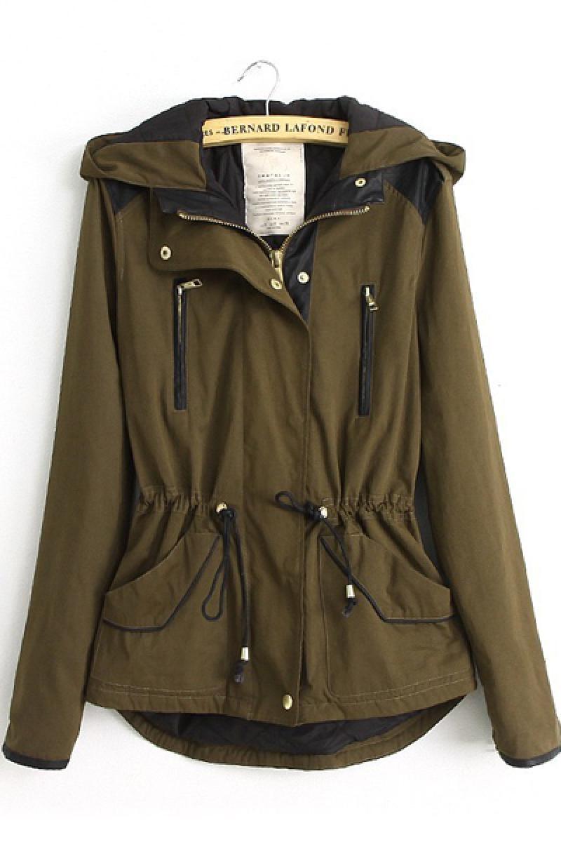 Slim Waist Line Splicing Uniform Padded Jacket,Cheap in Wendybox.com