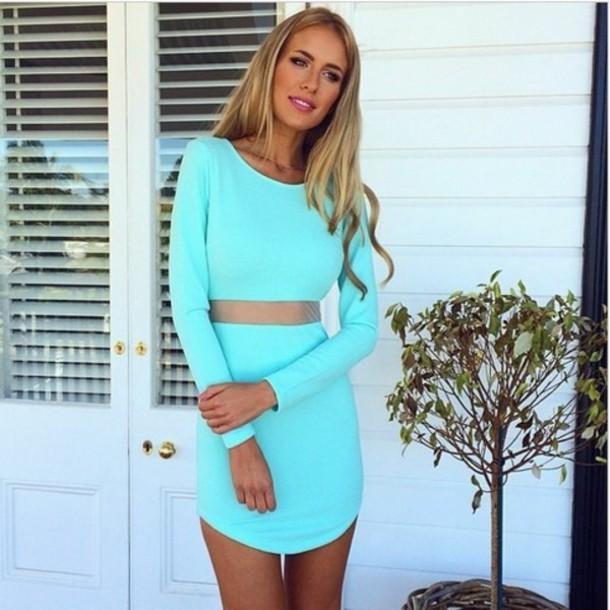 dress turquoise turquoise dress long sleeves long sleeve dress mesh dress mesh bodycon dress bodycon turquoise bodycon dress