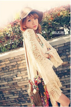 2014 Fairy flare sleeve national embroidery fashion tassel twinset lace one piece dress women's dress Free shipping LQ9621-inDresses from Apparel & Accessories on Aliexpress.com
