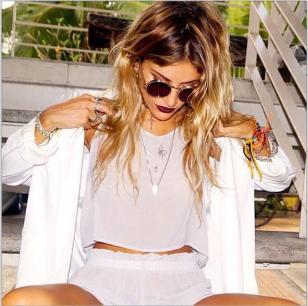 romper shorts top mesh purple lilac sunglasses