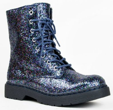 Qupid MISSILE-04 / SOURCE-03X Mock Dr. Martens Inspired Lace Up 1460 Style Combat Boot Navy Glitter-source03x - SoleShoppers | Shop w/ Free Delivery in the US