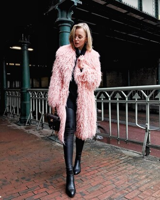 coat tumblr pink coat fur coat faux fur coat sweater black sweater sunglasses clear lens sunglasses turtleneck turtleneck sweater pants black pants black leather pants leather pants boots black boots ankle boots backpack mini backpack