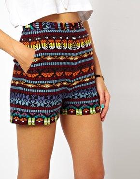 ASOS | ASOS High Waisted Shorts in Aztec Embroidery at ASOS