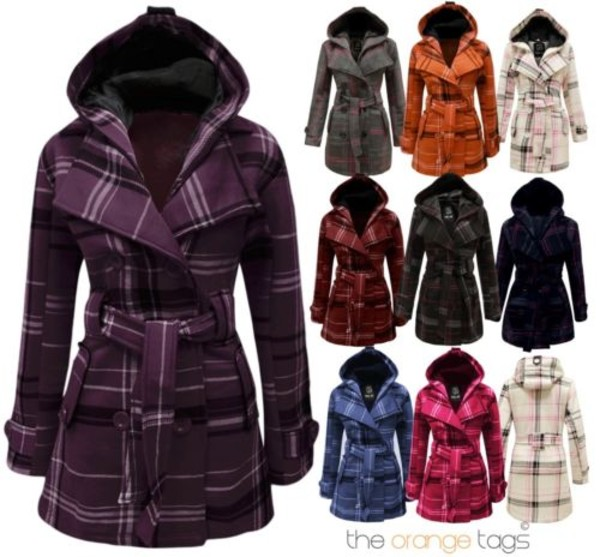 jacket belted coat military style hooded women winter outfits tartan buttoned hooded coat