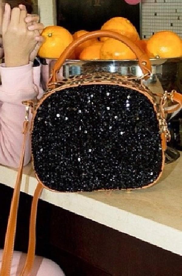 bag black brown leather bag crystal bag handbag purse