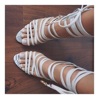 shoes strappy heels snake print lace up white grey