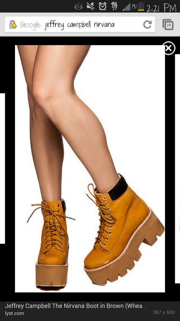 shoes jeffrey campbell nirvana wheat timberlands flatforms platform shoes karmaloop