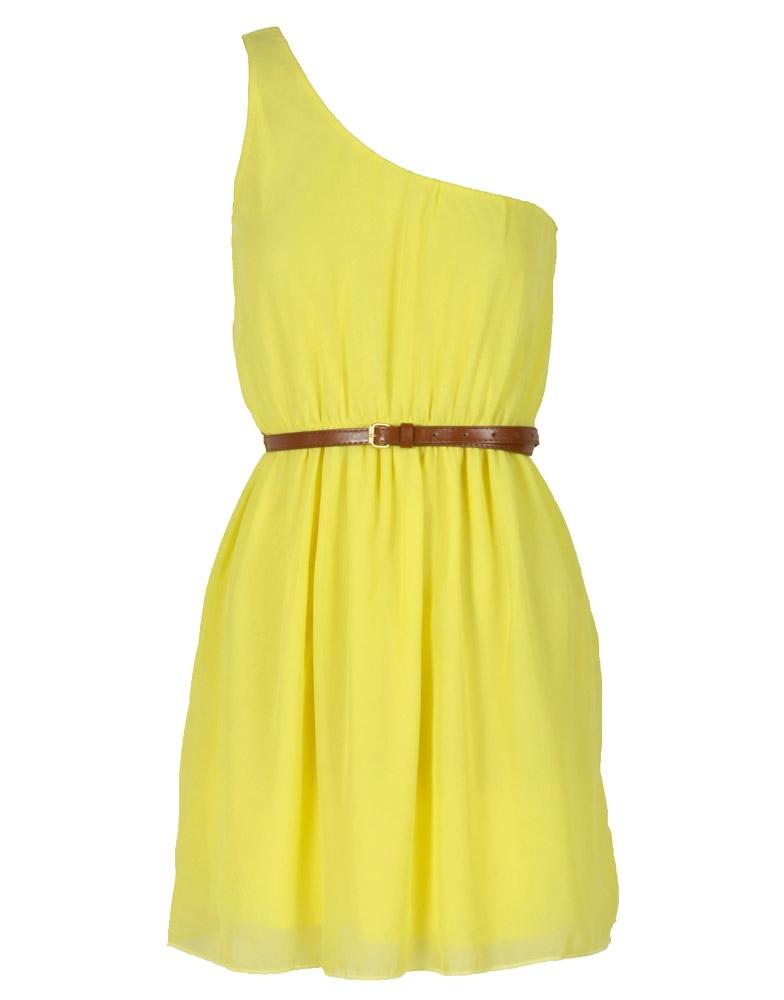 Yellow Colour Block One Shoulder Chiffon Dress w Belt