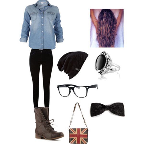hat hipster beanie retro nerd nerd glasses long hair purse boots denim shoes jeans shirt jewels