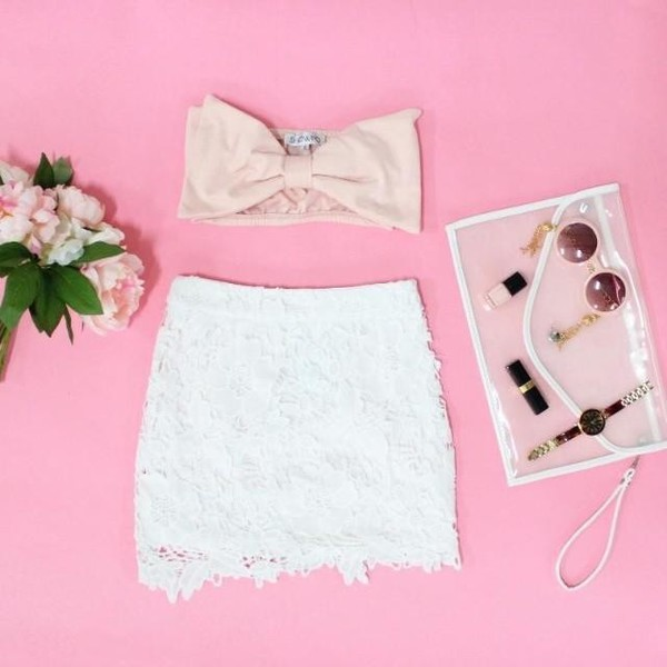 skirt lace skirt skirt lace white bow crop tops pouch plastic