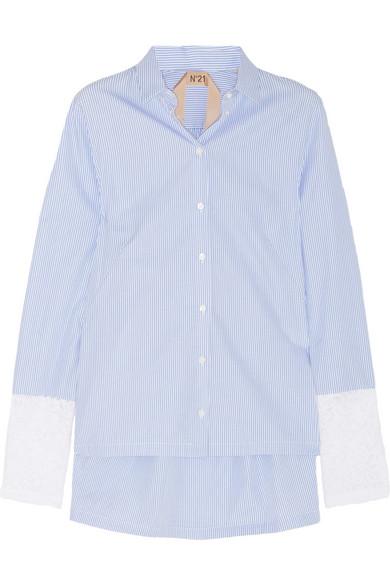 No. 21|Carlene striped cotton and lace shirt|NET-A-PORTER.COM