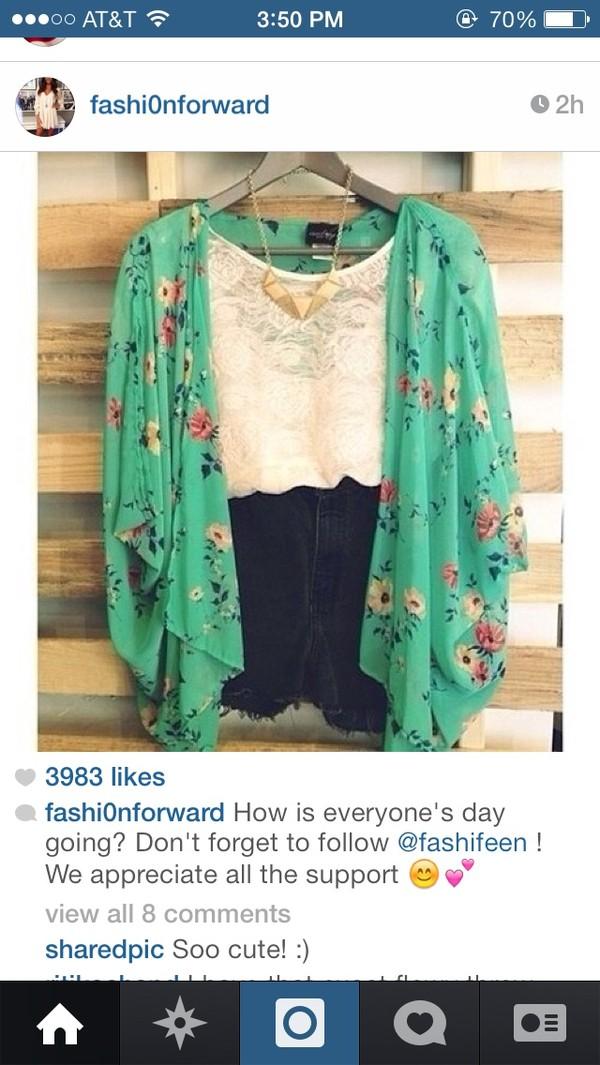 blouse kimono flowy shirt floral blue teal cute pretty chic hippie boho