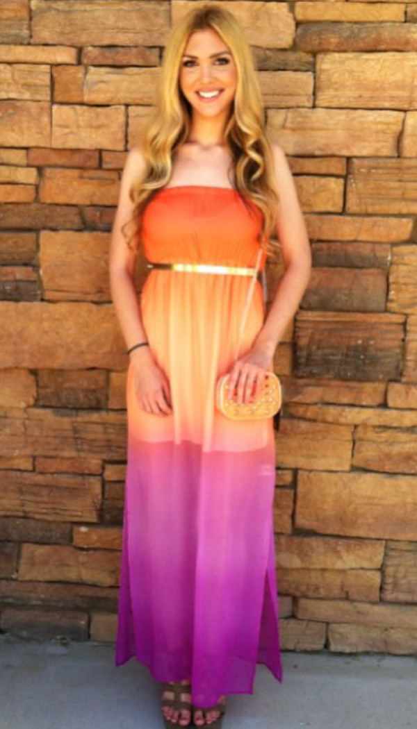 dress ombre orange purple