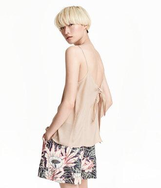 top bow back bow top backless top silk top cami nude top tank top