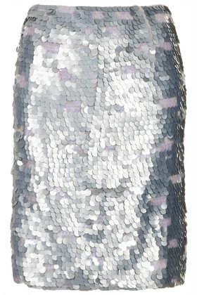 Silver Sequin Pencil Skirt - Topshop
