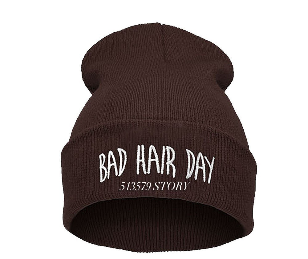 Hot Sale 2014 Sport Winter 16 Color BAD HAIR DAY Beanie Cap Men Hat Beanie Knitted Winter Hats hiphop For Women Fashion Caps-in Skullies & Beanies from Apparel & Accessories on Aliexpress.com