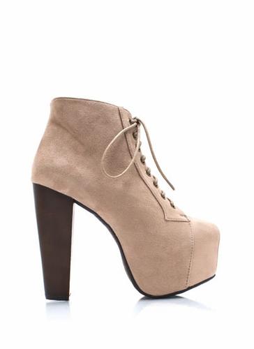GJ | Faux Suede Platform Booties $33.60 in BLACK DEEPGREEN HAZEL TAUPE - New Shoes | GoJane.com