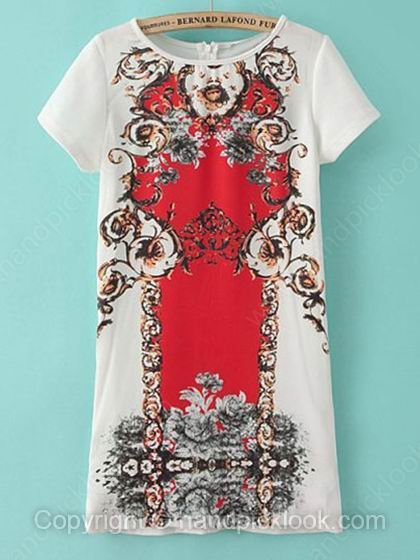 White Round Neck Short Sleeve Vintage Floral Dress - HandpickLook.com