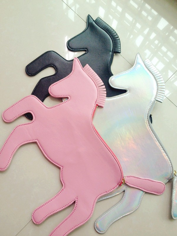 Free shipping unicorn designer laser silver horse clutch Bag HARAJUKU unicorn woman handbag horse bag-in Clutches from Luggage & Bags on Aliexpress.com
