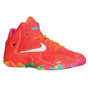 Nike LeBron XI - Boys' Grade School - Basketball - Shoes - Laser Crimson/White/Pink Flash/Total Orange
