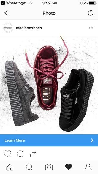shoes rihanna fenty shoes velvet puma black velvet burgundy velvet grey puma x rihanna puma sneakers