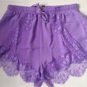 Purple Shorts — Bib   Tuck on Wanelo