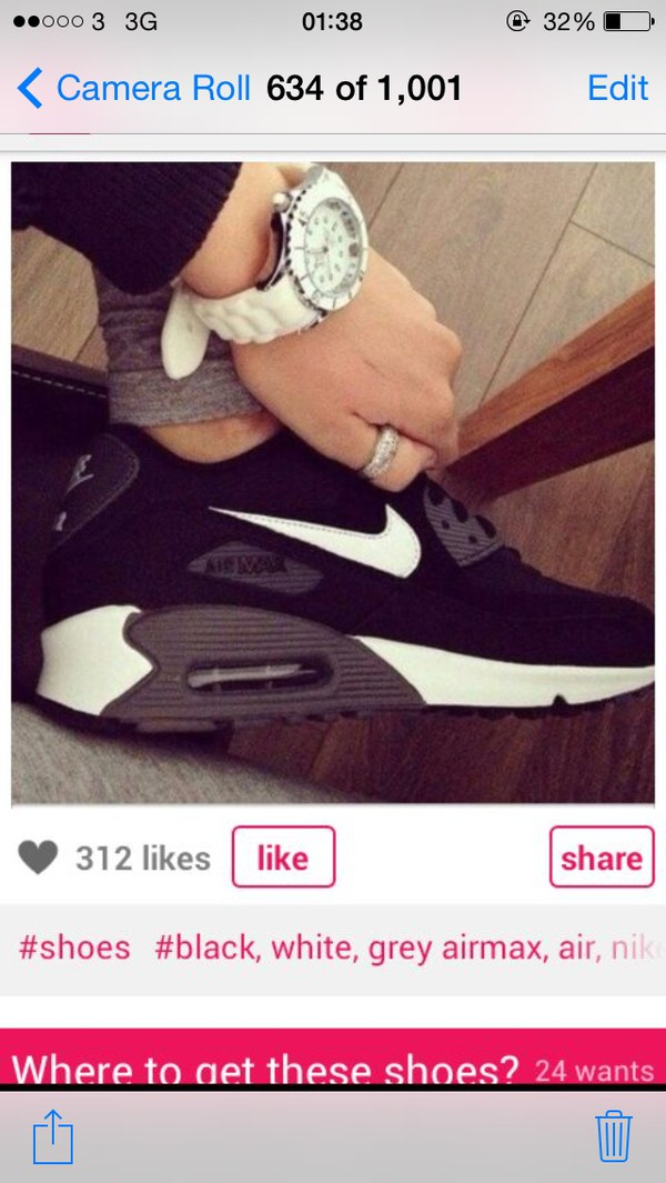 shoes nike nikeair nike air max 90 black and white grey trainners running shoes