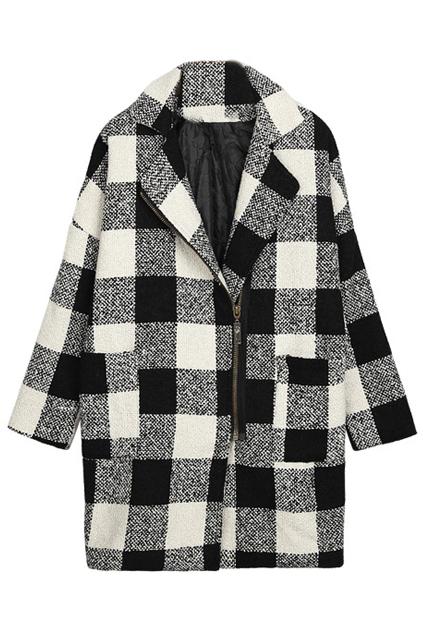 ROMWE | ROMWE Loose Zippered Check Print White Coat, The Latest Street Fashion