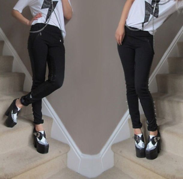 shoes jeffrey campbell creepers creeper black and white tuk creeper heels platform shoes goth heels leggings t-shirt