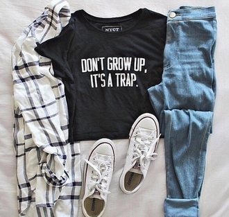 blouse jeans shirt black t-shirt graphic tee black t-shirt top nyct clothing crop tops graphic crop tops graphic crop top don't grow up it's a trap summer ootd ootd ootd top wholeoutfit? tartanshirt theseshoes pretty underwear black graphic shirt grow peter pan trap peter pan shirt pattern stripes hemd dont grow up funny quote printed t-shirt denim shorts blue jeans converse girls sneakers low top sneakers urban grungy grunge t-shirt shoes grunge quote on it hipster pants cardigan don't grow up its a trap teenagers don't grow up outfit black crop top dark print black and white