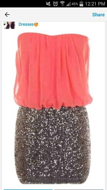 dress sparkle coral dress strapless dress