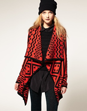 ASOS | ASOS Blanket Cardigan In Geo-Tribal Pattern at ASOS