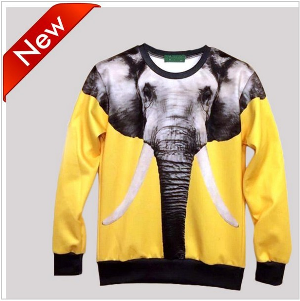 2014 New arrival fashion women/men's 3d sweatshirts top printed animals Elephant yellow hoodies S/M/L/XL SWT39-in Hoodies & Sweatshirts from Apparel & Accessories on Aliexpress.com